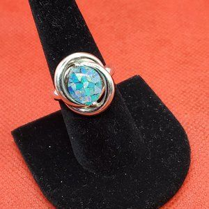 Mosaic Opal Sterling Ring